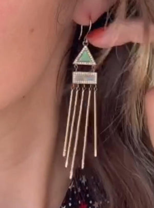 Opal Triangle Chandelier Earrings