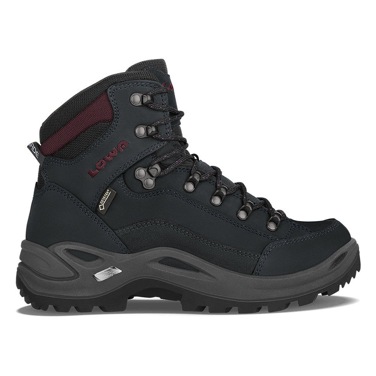 Lowa Renegade GTX Mid Women's- Black/Burgundy - Baker's Boots and Clothing