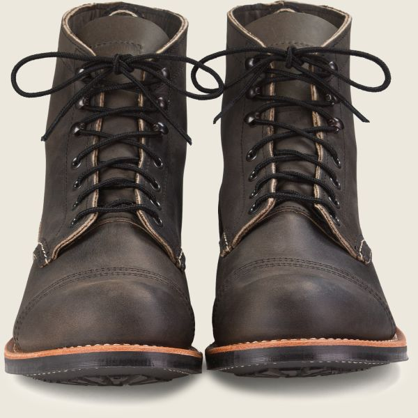 Red Wing Heritage - Men's Iron Ranger 6 Inch Boot -Charcoal Rough & Tough Leather - Style 8086 - Baker's Boots and Clothing