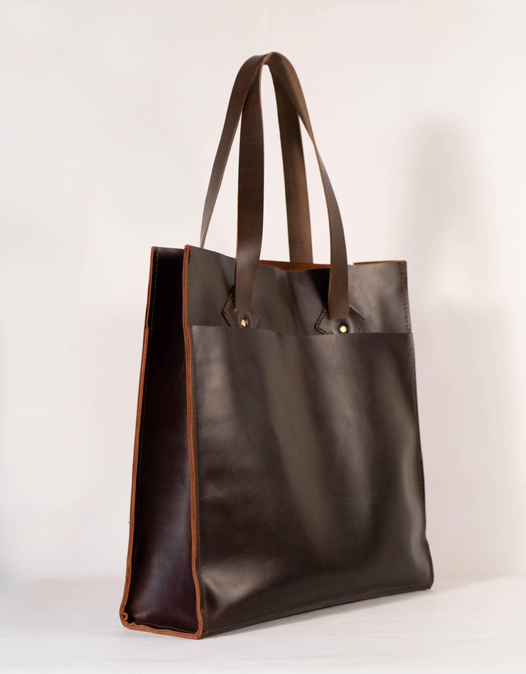 Baker's Espresso Brown Horween Chromexcel Leather Tote Bag - Handmade in the USA - Baker's Boots and Clothing