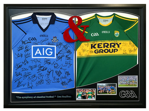 dublin and kerry football jerseys framed