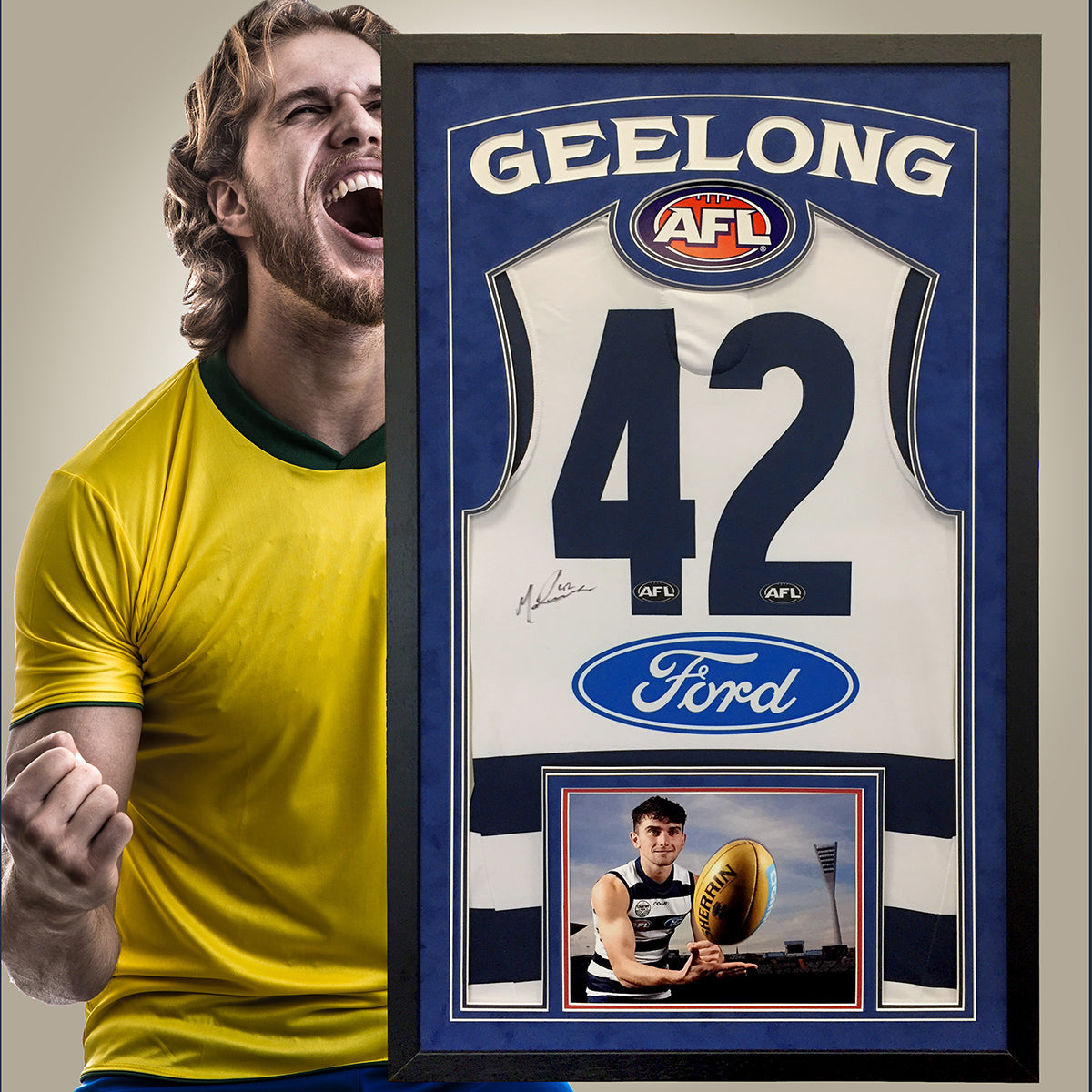 Aussie Rules Jersey Frame - with bordeaux blue suedette mount