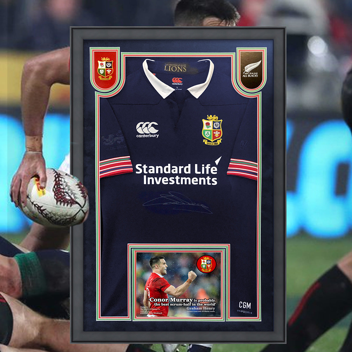 Conor Murray Lions Jersey framed- with treble mounting & clarity glass