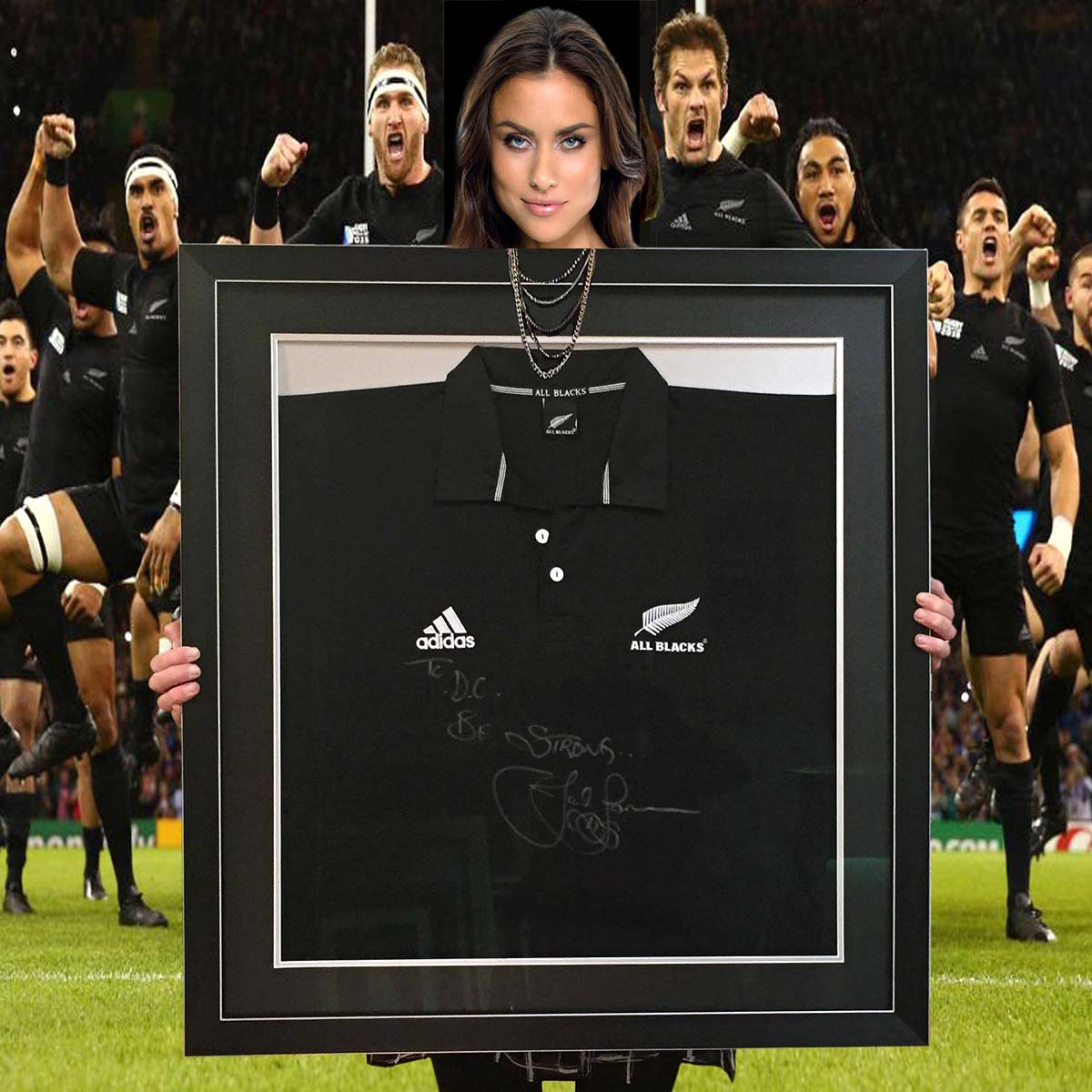 Jonah Lomu signed Jersey Frame- a very unique and valuable jersey