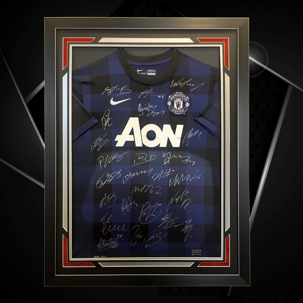 Man U signed jersey framed- with a contemporary design