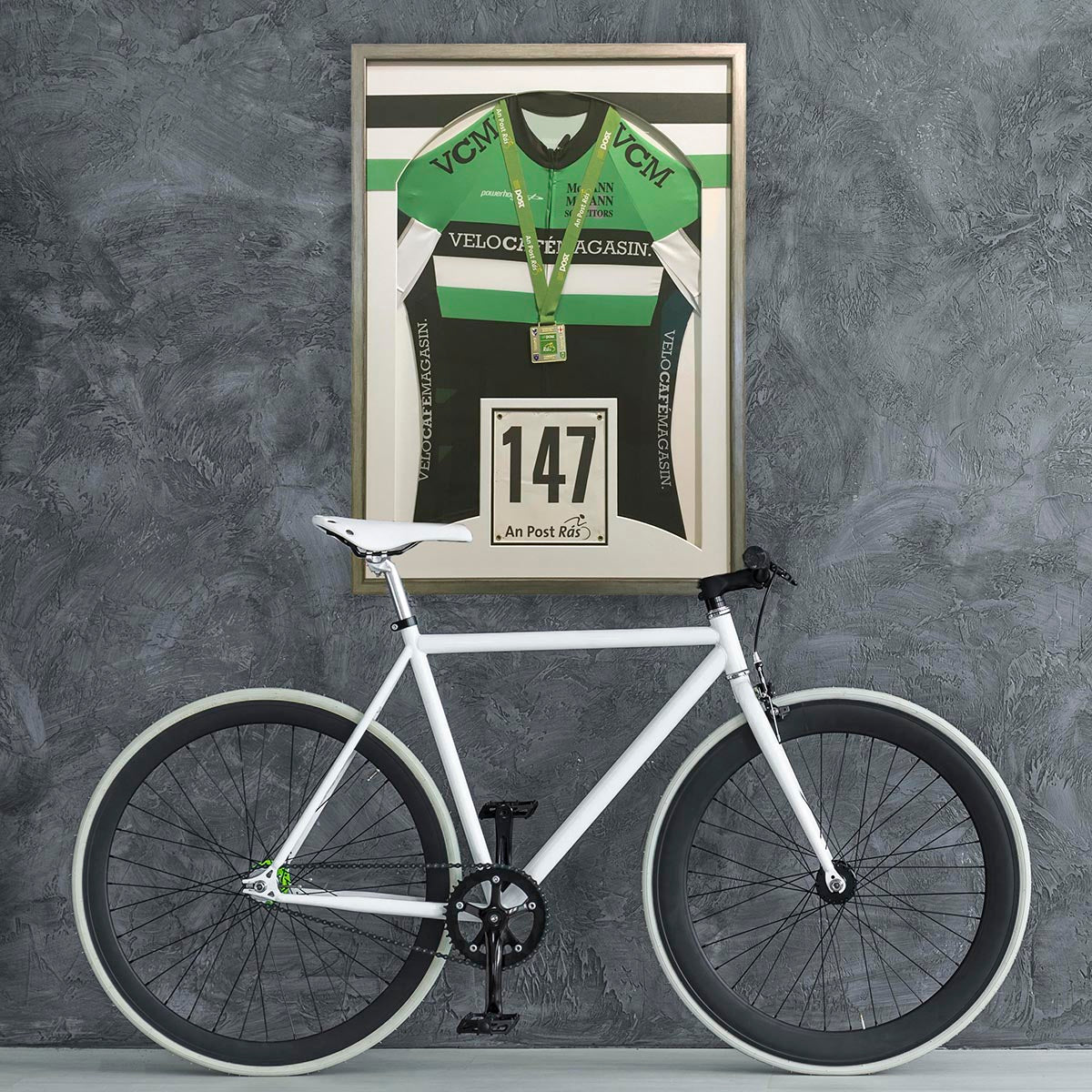 Cycling Jersey Framed - with matching custom bands in retro style