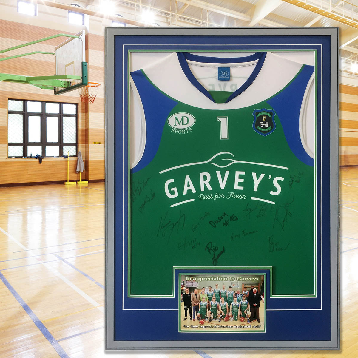 Basketball jersey frame - with photo plus captioning