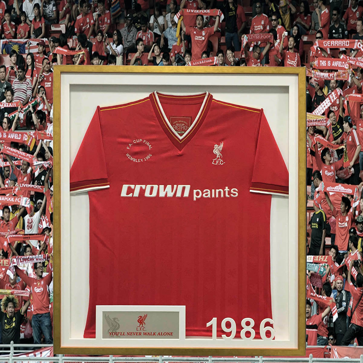 Liverpool FC football shirt framing - with deep rebate gold frame