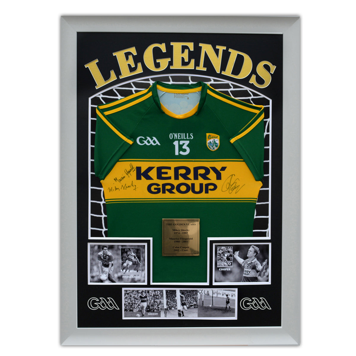 Legends Football Jersey Frame - with gold foil mounting & plaque