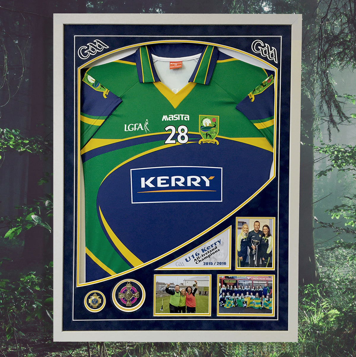 Kerry Ladies Football jersey frame - with design led mounting