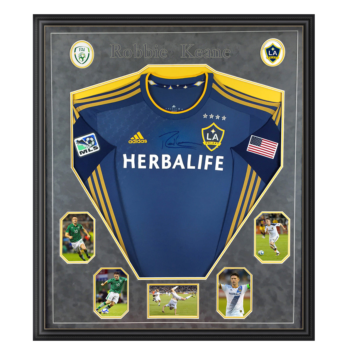 LA Galaxy jersey frame - with logos, etc in suedette grey