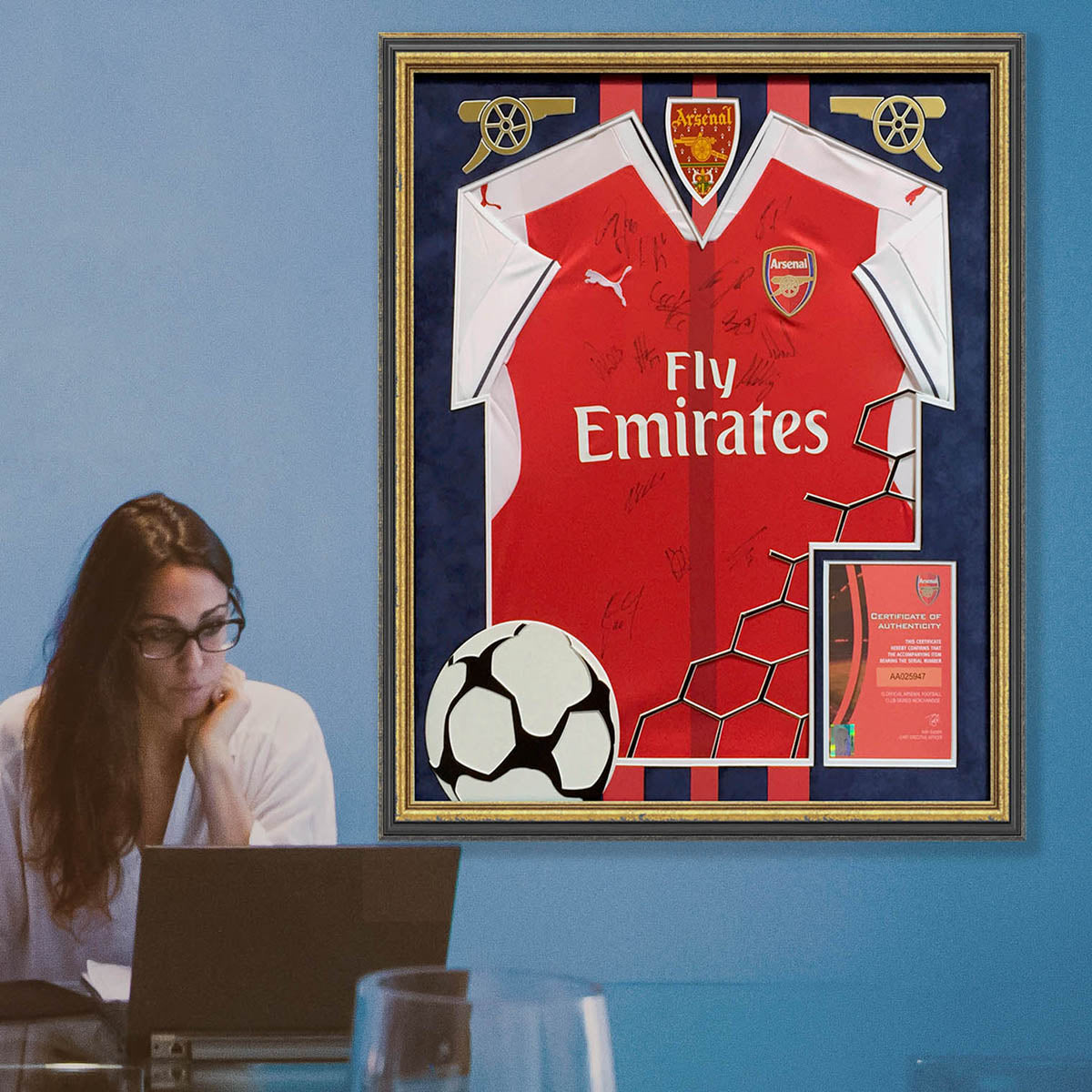 Arsenal signed framed football shirt - with design & suedette mount