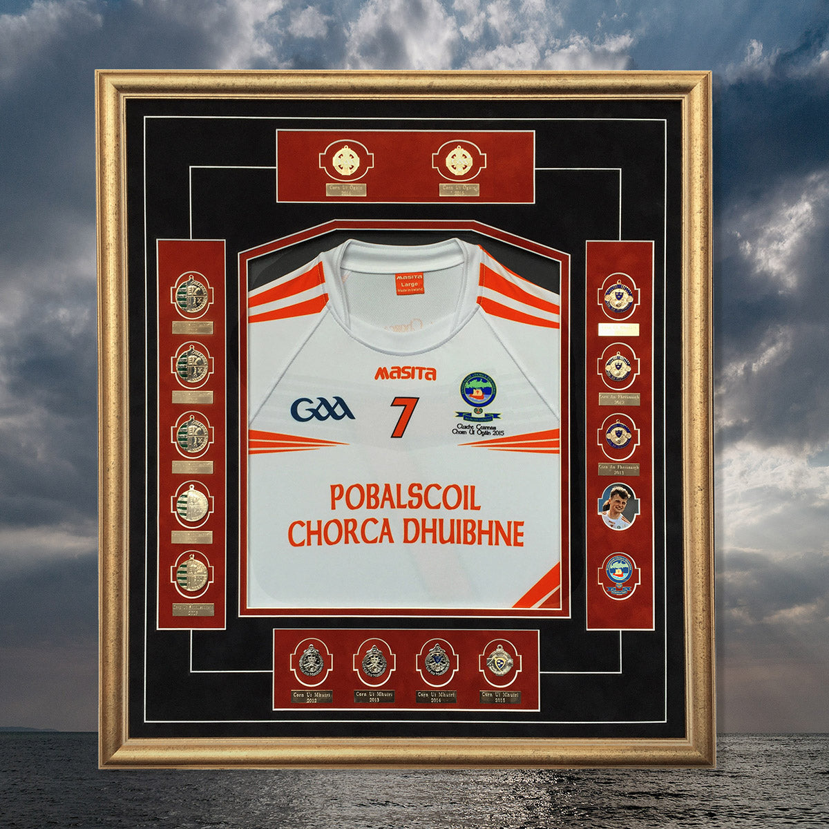 Dingle School Jersey Frame- with colleges football medals