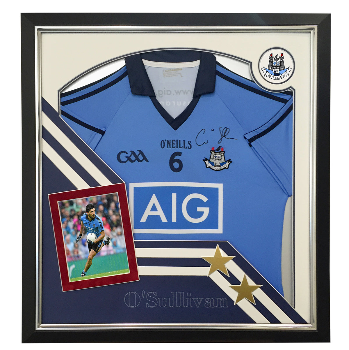 Dublin All Star Cian O Sullivan - with photo and bespoke mount desig