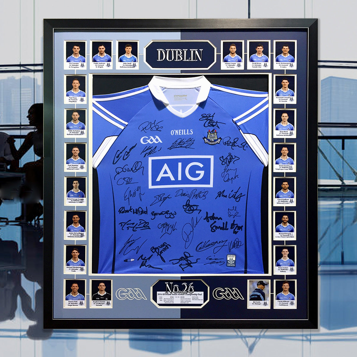 Dublin signed jersey framed - with players photos and captioning