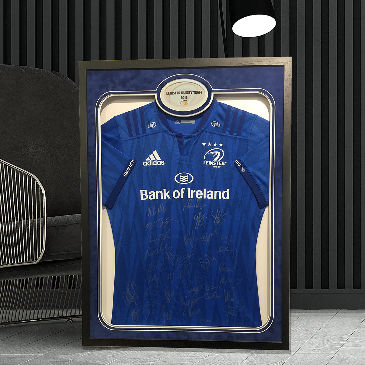 Leinster signed Rugby Jersey Frame - with neckline graphic