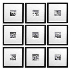 GALLERY WALL, Smartphone Instagram Frames Collection, Set of 9, 11x11-inch Square Photo Frames with White Photo Mat for 4x4 photo