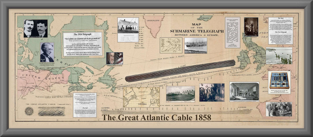 Original Atlantic Steel Cable dated 1958 laid from Valentia Is. to the USA (old map as backround) - The Quality Framing Company & Imaging Services
