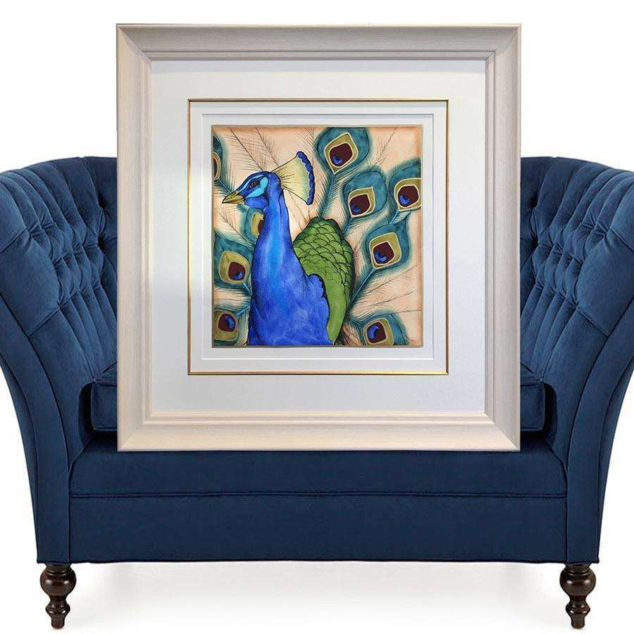 Blue Peacock (Embellished Print)