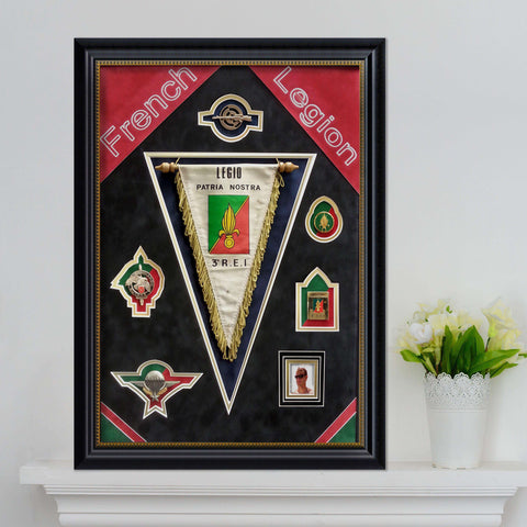 Military Medals from the Foreign Legion framed for a local who enlisted