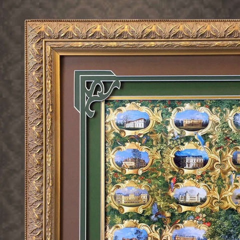 An intricate Mount Design & Handmade Frame for an Old Print of the Rothschild's Houses