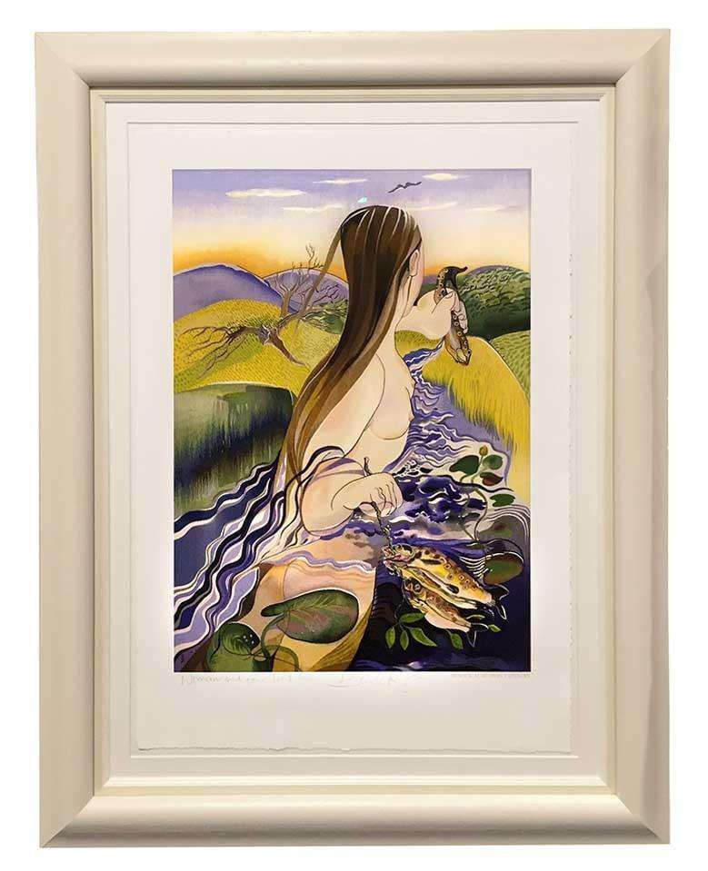 Woman and Four Trout by Pauline Bewick - The Quality Framing Company & Imaging Services