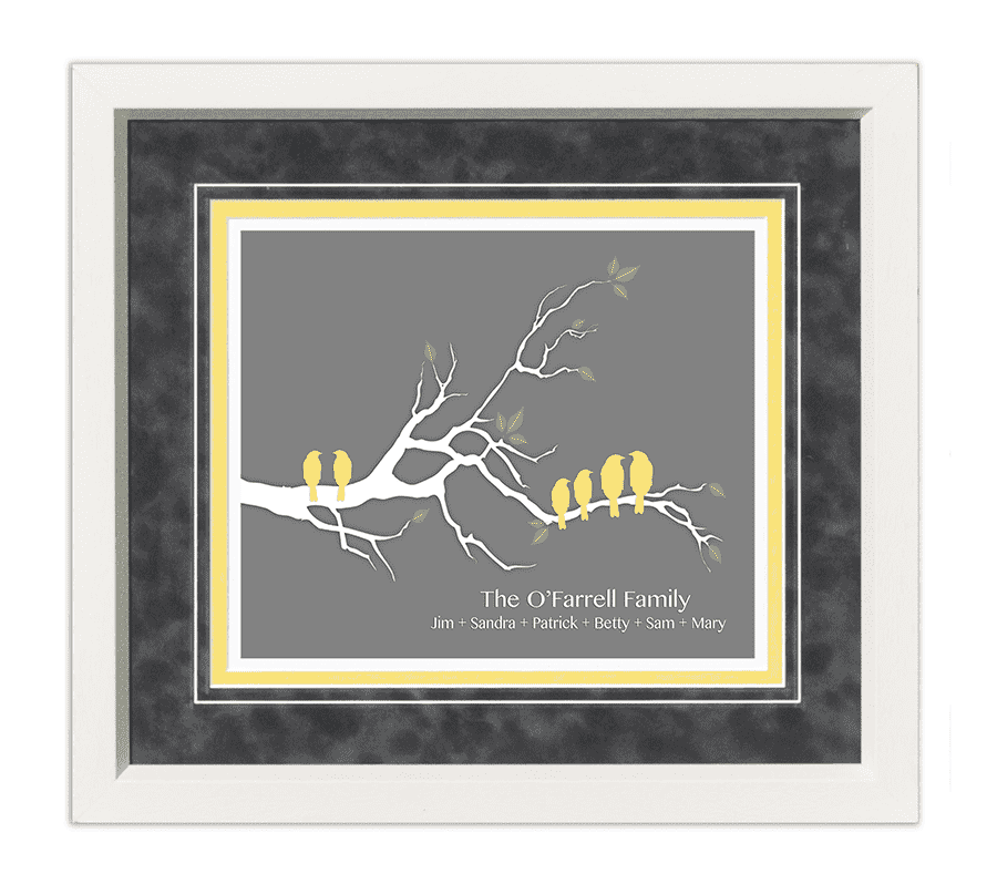 Family Tree Gift Frame (Yellow) - The Quality Framing Company & Imaging Services