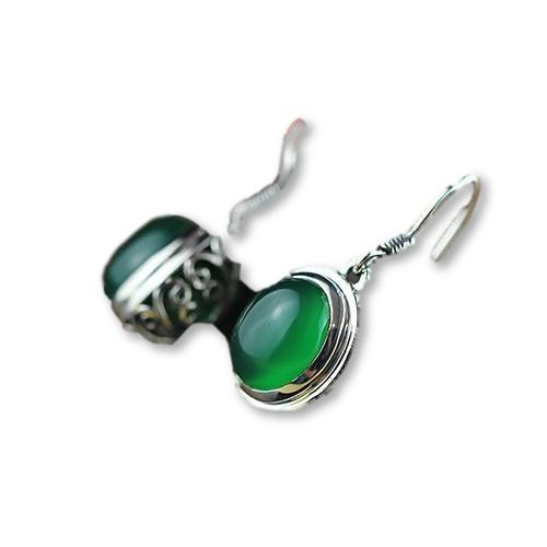 12MM Natural Gemstone Jade Earrings 925 Sterling Silver - Rutuli