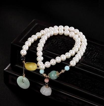 14K Gold 6mm Natural Emerald Pearl Agate Beaded Bracelet