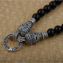 925 Sterling Silver 6mm Black Onyx Vintage Style Beaded Necklace - Rutuli