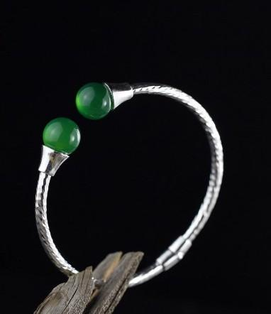 925 Sterling Silver Bracelet Green Jade, Garnet or Black Pearls Bangle Bracelet