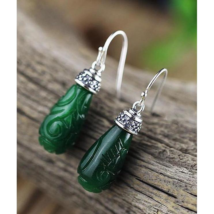 925 Sterling Silver Dainty Green Chalcedony Drop Earrings