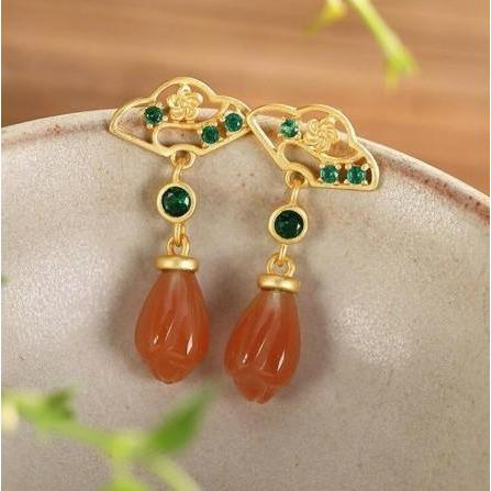 925 Sterling Silver Natural Agate Drop Earrings