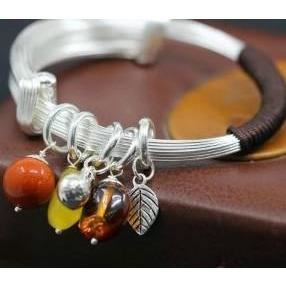 925 Sterling Silver Natural Amber, Red Agate and Beeswax Leaf Bangle Bracelet