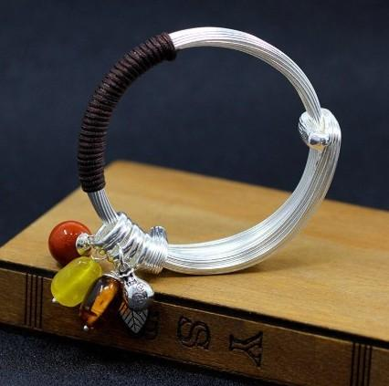 925 Sterling Silver Natural Amber, Red Agate and Beeswax Leaf Bangle Bracelet - Rutuli