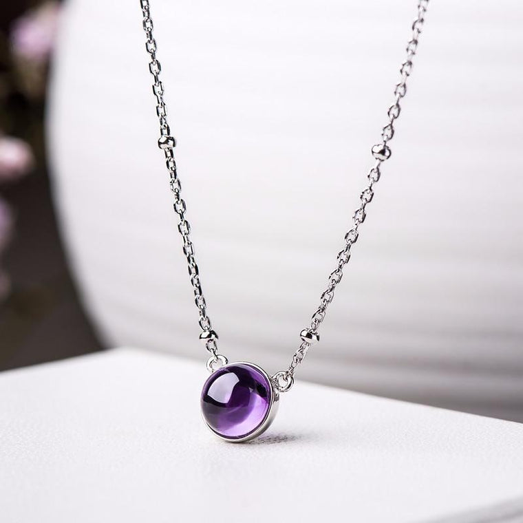 925 Sterling Silver Natural Amethyst Round Pendant Necklace