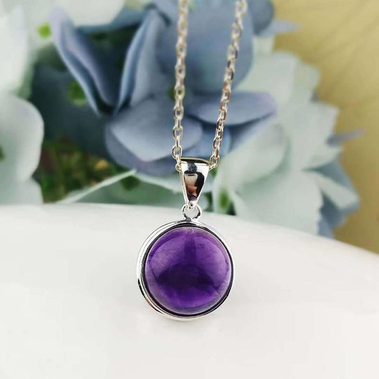 925 Sterling Silver Natural Amethyst Slide Pendant