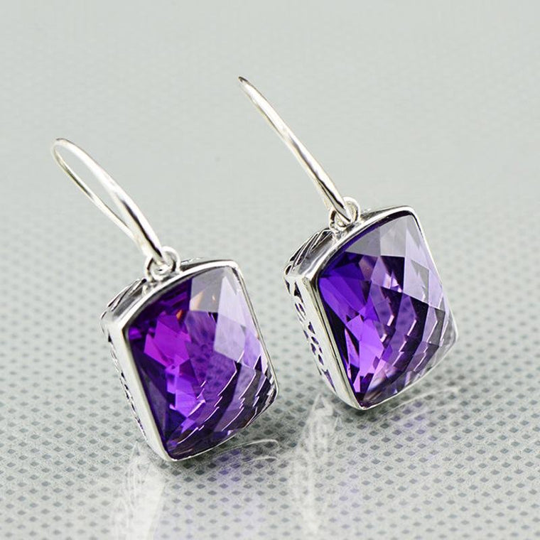 925 Sterling Silver Natural Amethyst Square Shape Faceted Earrings
