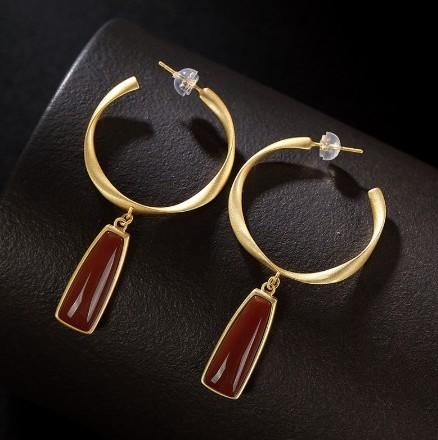 925 Sterling Silver Natural Golden Agate Drop Earrings