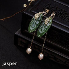 925 Sterling Silver Natural Jasper or Jade Tassle Statement Dangling Earrings - Rutuli