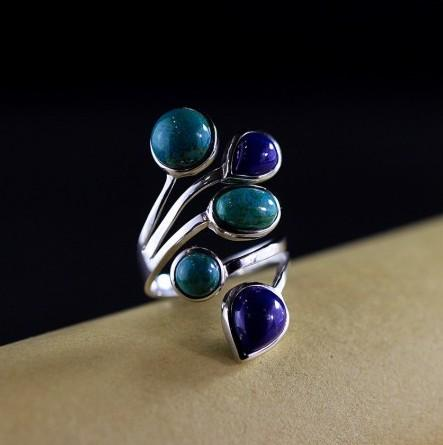925 Sterling Silver Natural Lapis Channel Set Ring - Rutuli