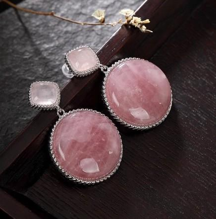 925 Sterling Silver Natural Pink Crystal Dangle Statement Earrings