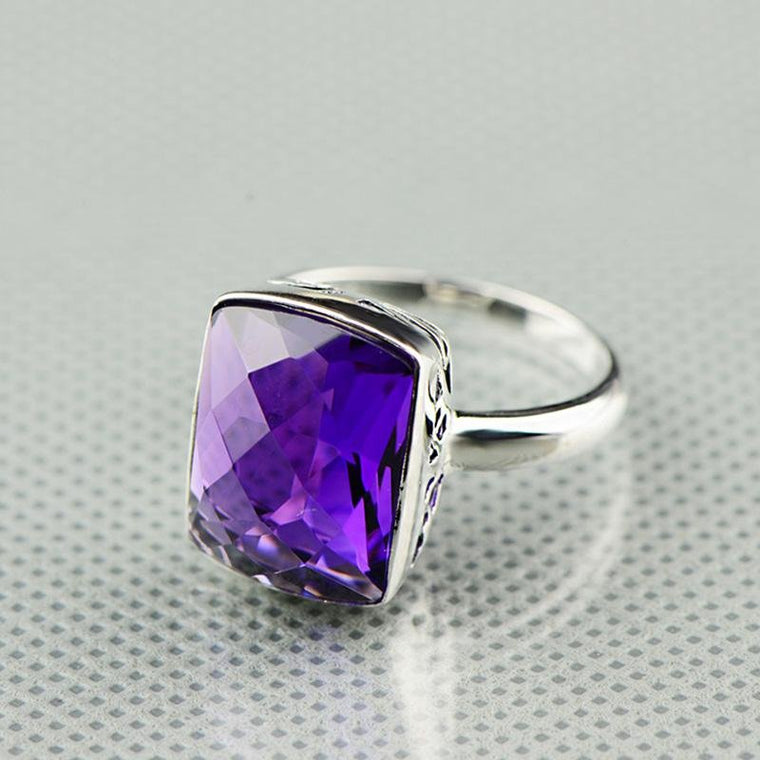 925 Sterling Silver Natural Purple Amethyst Ring