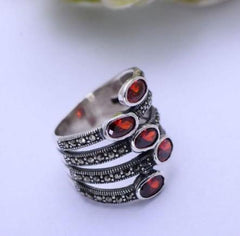 925 Sterling Silver Natural Red Garnet & Marcasite Multi Layer Ring - Rutuli