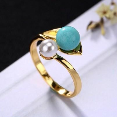 925 Sterling Silver Natural Turquoise & Pearl Adjustable Ring