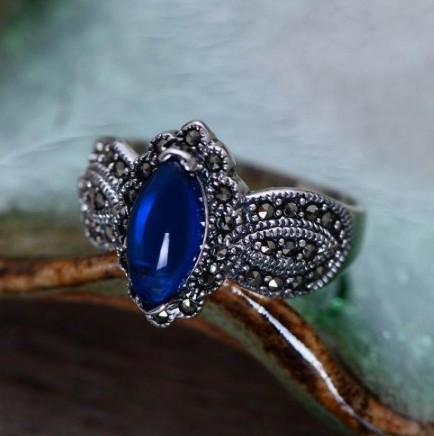925 Sterling Silver Natural Vintage Style Kyanite Ring