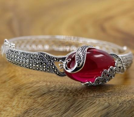 925 Sterling Silver Red Jade Bangle Bracelet
