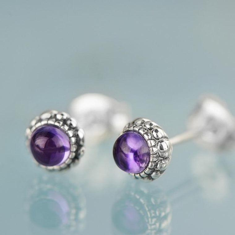925 Sterling Silver Vintage Natural Amethyst Stud Earrings