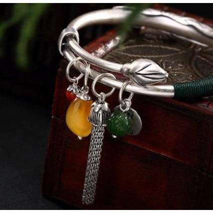 990 Sterling Silver Jasper Lotus Tassel Bracelet/Bangle