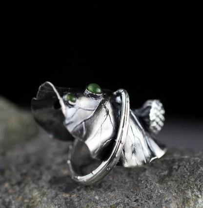 990 Sterling Silver Ring For Women Adjustable Lotus Jade Flower Ring - Rutuli